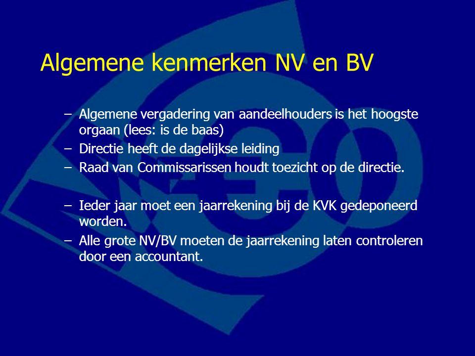 Algemene kenmerken NV en BV
