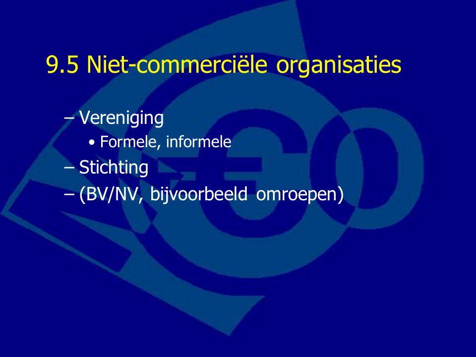 9.5 Niet-commerciële organisaties