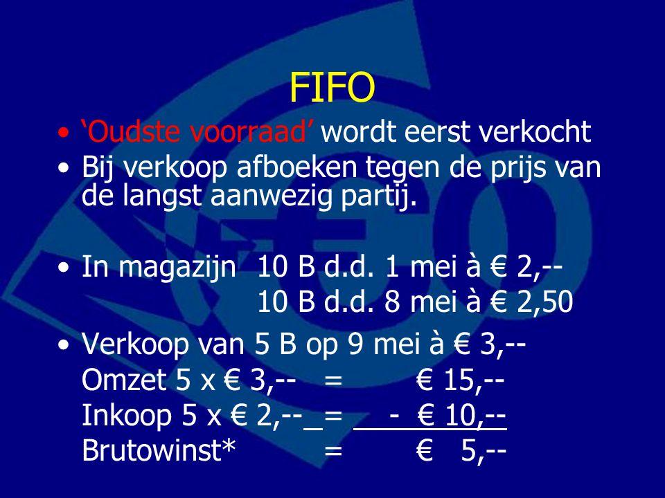 FIFO 'Oudste voorraad' wordt eerst verkocht