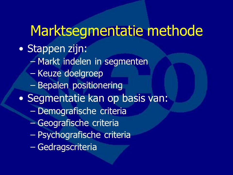 Marktsegmentatie methode