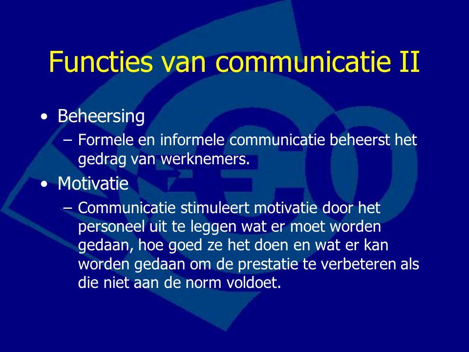 Functies van communicatie II