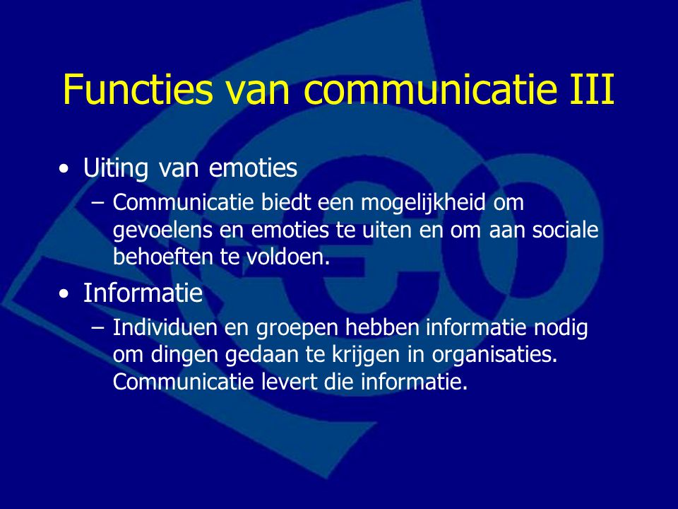 Functies van communicatie III