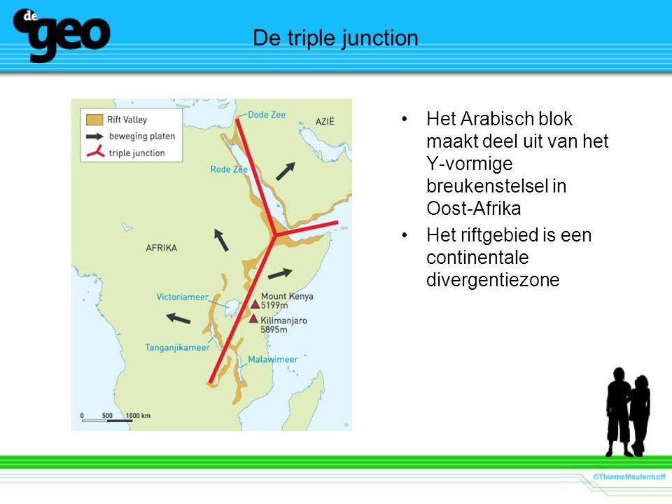 De triple junction Het Arabisch blok maakt deel uit van het Y-vormige breukenstelsel in Oost-Afrika.