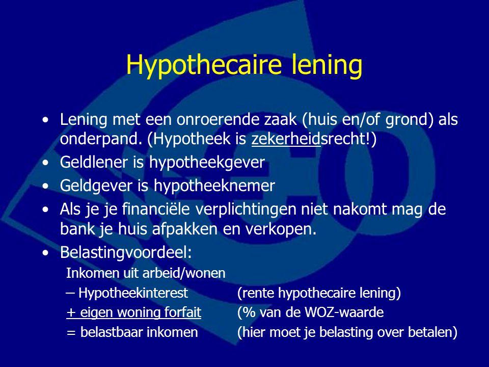 Hypothecaire lening Lening met een onroerende zaak (huis en/of grond) als onderpand. (Hypotheek is zekerheidsrecht!)