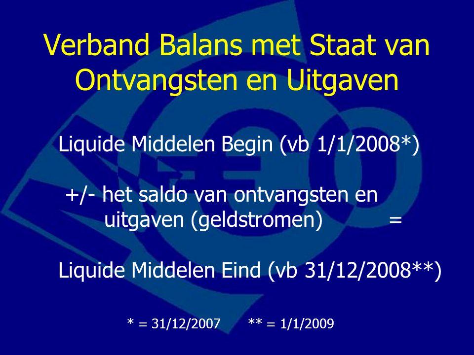 Verband Balans met Staat van Ontvangsten en Uitgaven