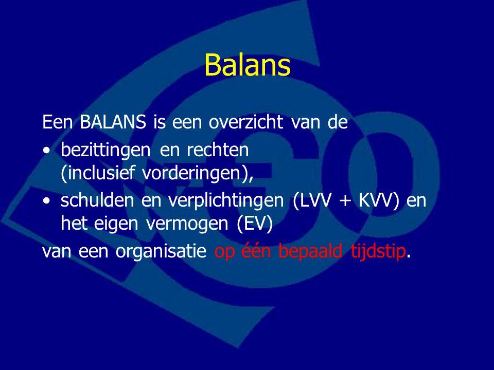 Balans Een BALANS is een overzicht van de