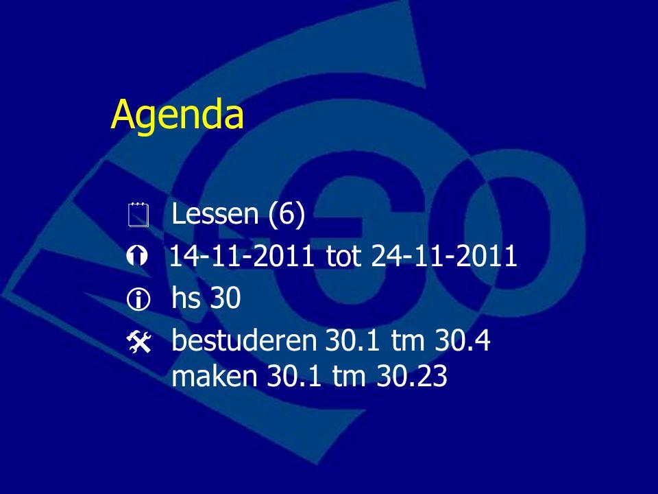 Agenda  Lessen (6)  14-11-2011 tot 24-11-2011  hs 30