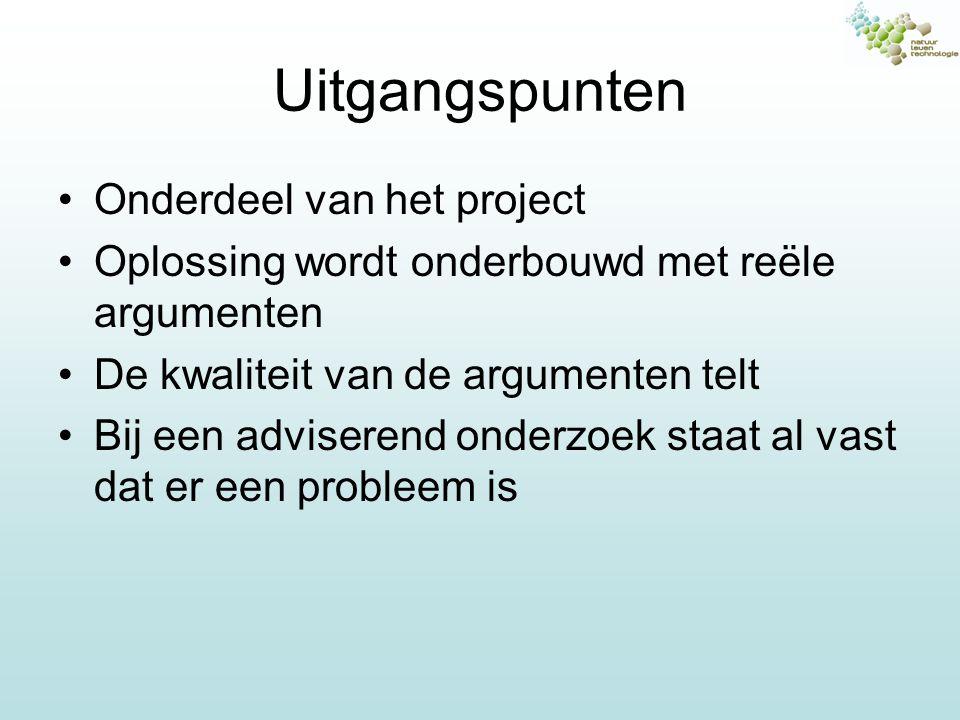 Uitgangspunten Onderdeel van het project