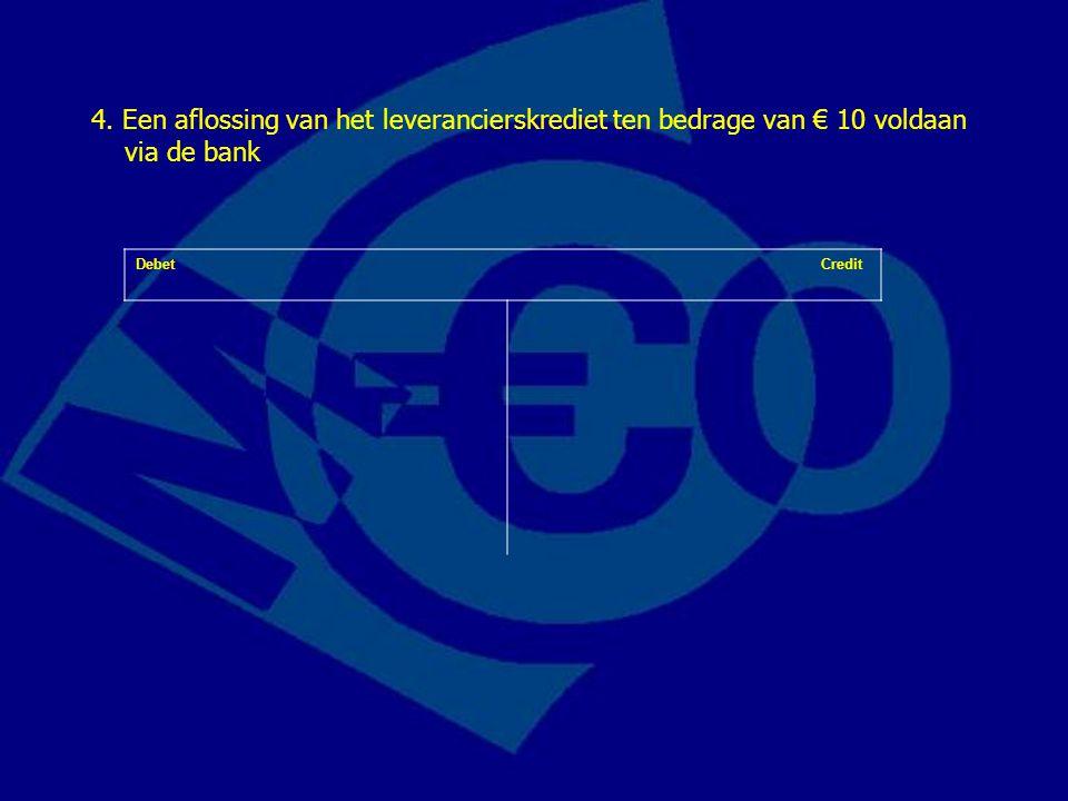 4. Een aflossing van het leverancierskrediet ten bedrage van € 10 voldaan via de bank