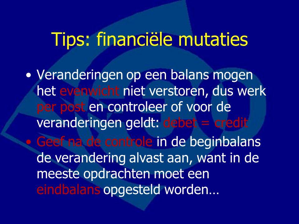 Tips: financiële mutaties
