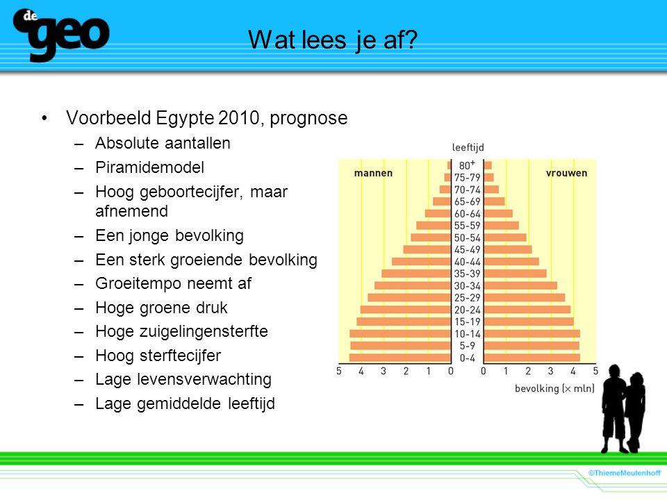 Wat lees je af Voorbeeld Egypte 2010, prognose Absolute aantallen