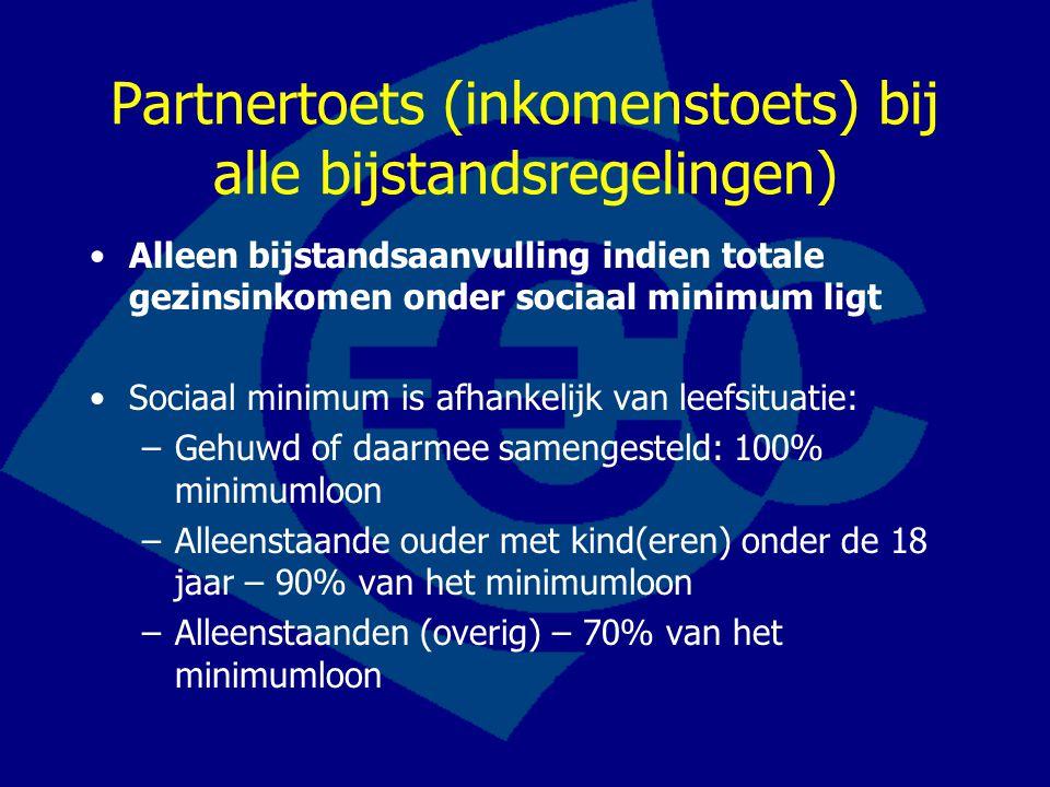 Partnertoets (inkomenstoets) bij alle bijstandsregelingen)