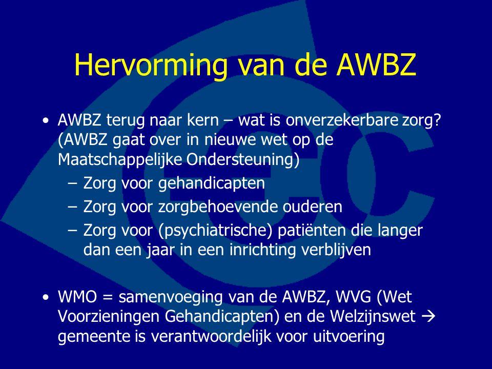 Hervorming van de AWBZ AWBZ terug naar kern – wat is onverzekerbare zorg (AWBZ gaat over in nieuwe wet op de Maatschappelijke Ondersteuning)
