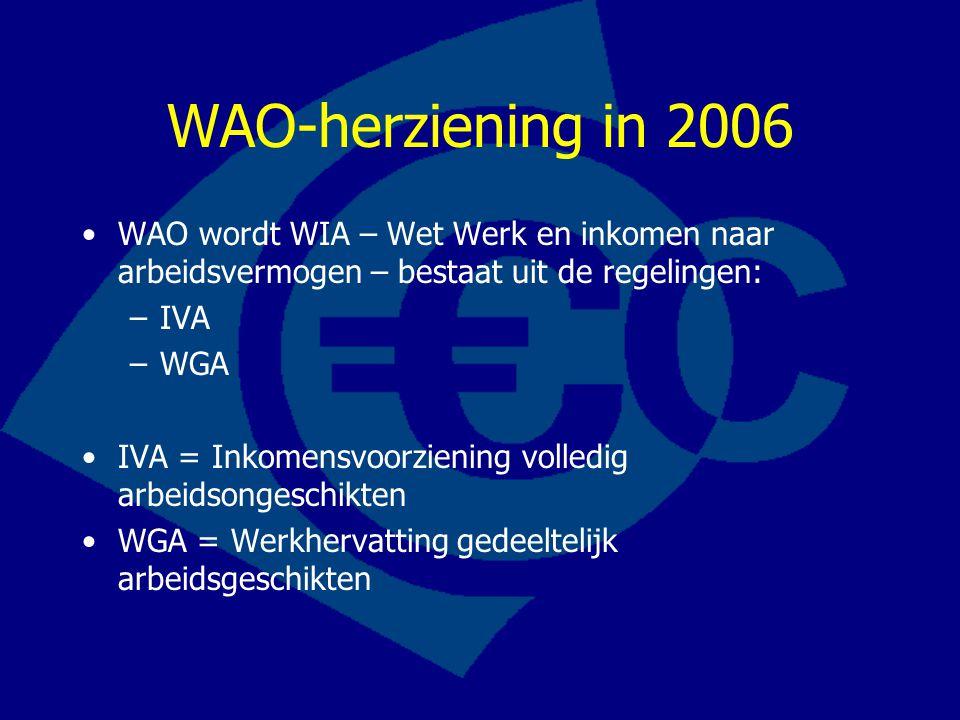 WAO-herziening in 2006 WAO wordt WIA – Wet Werk en inkomen naar arbeidsvermogen – bestaat uit de regelingen: