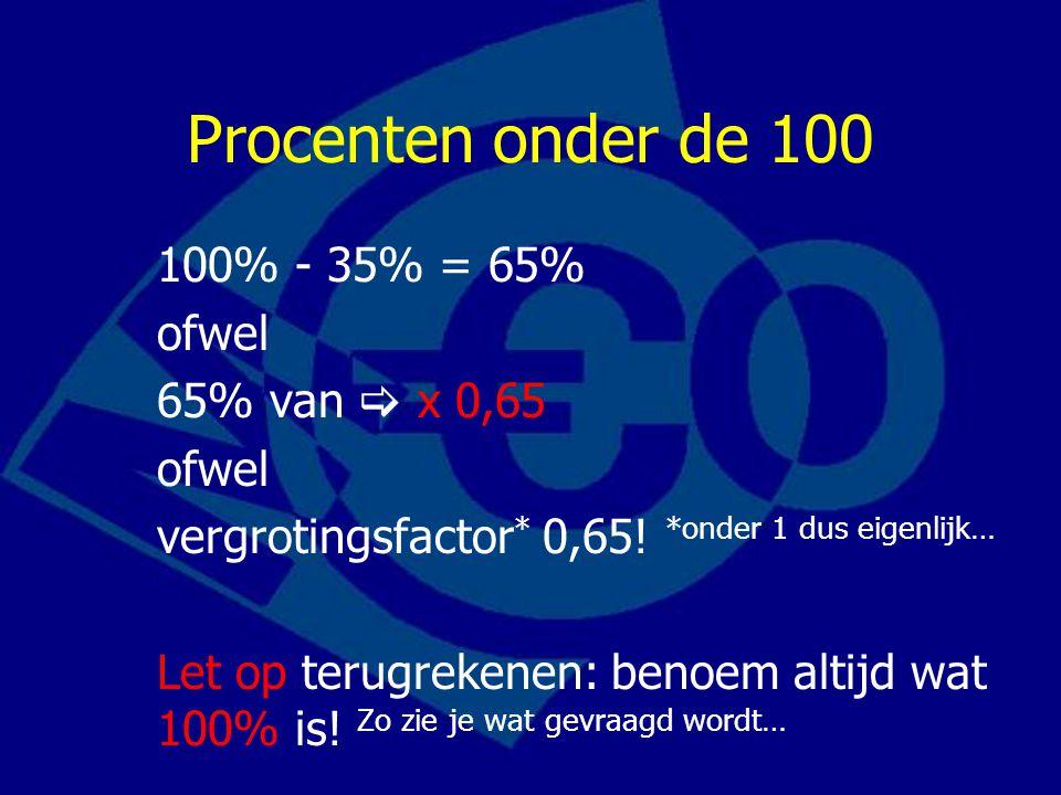 Procenten onder de 100 100% - 35% = 65% ofwel 65% van  x 0,65