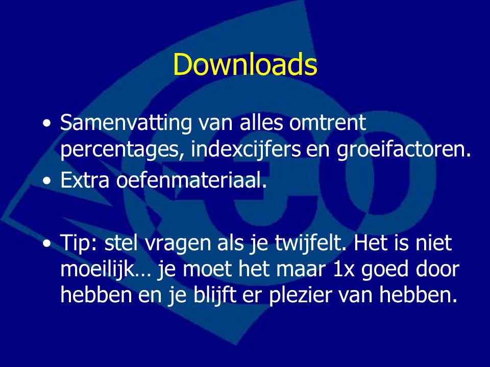 Downloads Samenvatting van alles omtrent percentages, indexcijfers en groeifactoren. Extra oefenmateriaal.