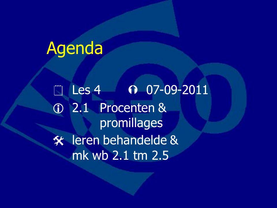 Agenda  Les 4  07-09-2011  2.1 Procenten & promillages
