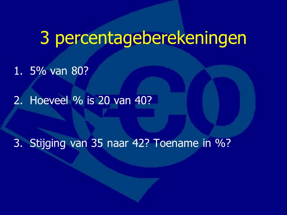 3 percentageberekeningen