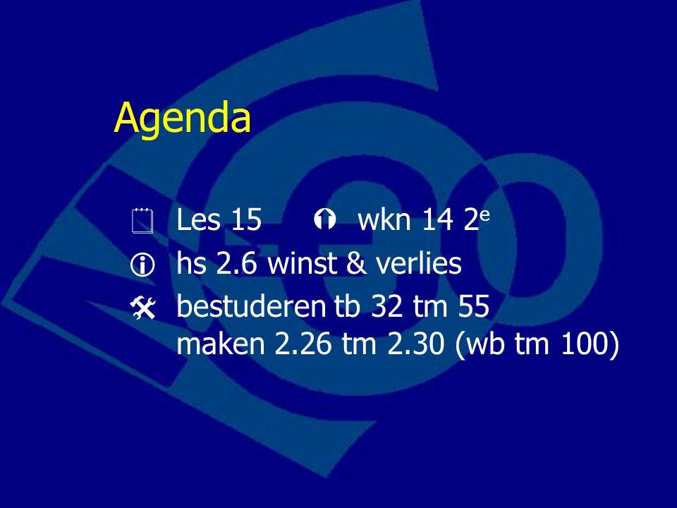 Agenda  Les 15  wkn 14 2e  hs 2.6 winst & verlies
