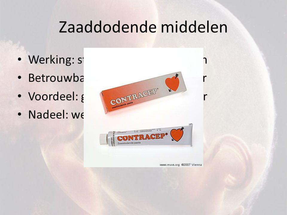Zaaddodende middelen Werking: stoffen doden zaadcellen