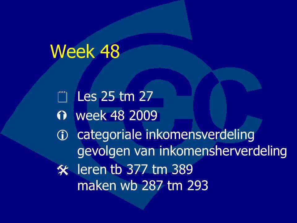 Week 48  Les 25 tm 27.  week 48 2009.  categoriale inkomensverdeling gevolgen van inkomensherverdeling.