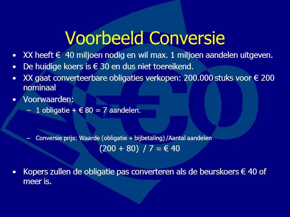 Voorbeeld Conversie XX heeft € 40 miljoen nodig en wil max. 1 miljoen aandelen uitgeven. De huidige koers is € 30 en dus niet toereikend.