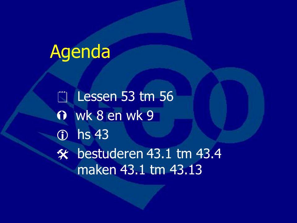 Agenda  Lessen 53 tm 56  wk 8 en wk 9  hs 43
