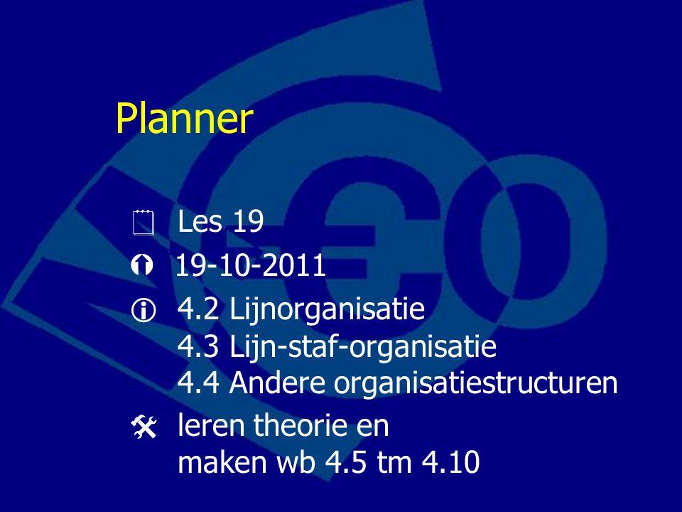 Planner  Les 19.  19-10-2011.  4.2 Lijnorganisatie 4.3 Lijn-staf-organisatie 4.4 Andere organisatiestructuren.