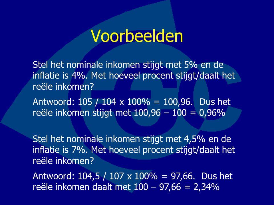 Voorbeelden Stel het nominale inkomen stijgt met 5% en de inflatie is 4%. Met hoeveel procent stijgt/daalt het reële inkomen