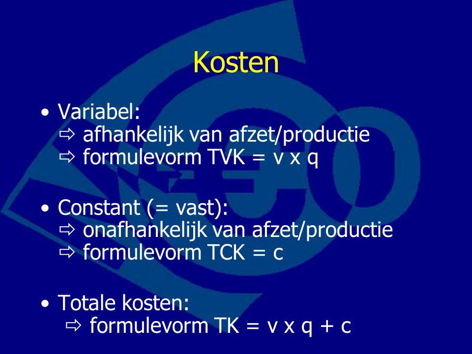 Kosten Variabel:  afhankelijk van afzet/productie  formulevorm TVK = v x q.