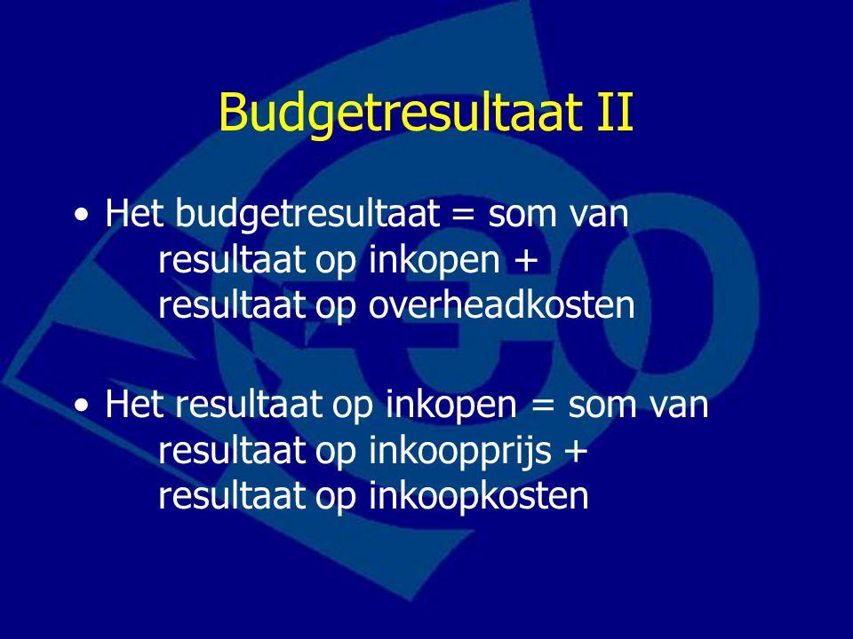 Budgetresultaat II Het budgetresultaat = som van resultaat op inkopen + resultaat op overheadkosten.