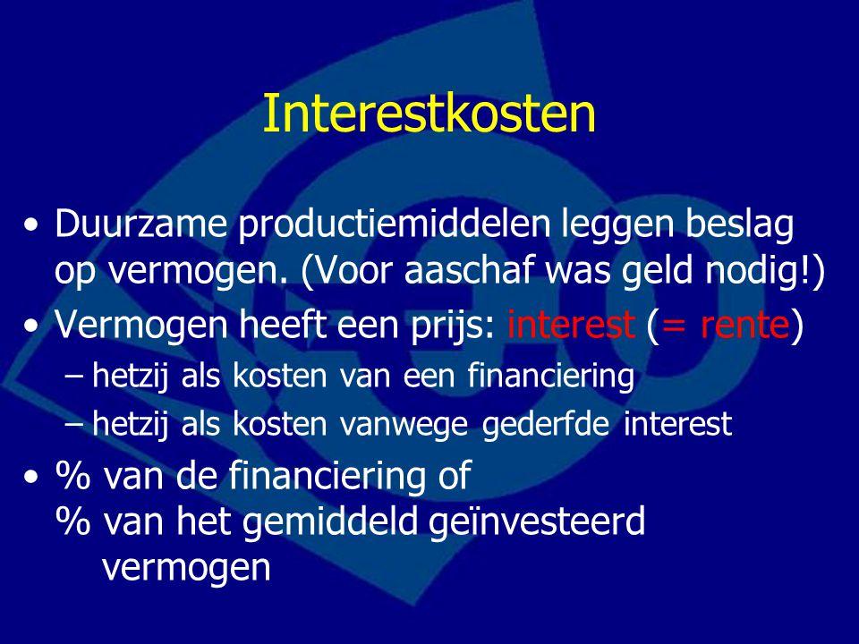 Interestkosten Duurzame productiemiddelen leggen beslag op vermogen. (Voor aaschaf was geld nodig!)