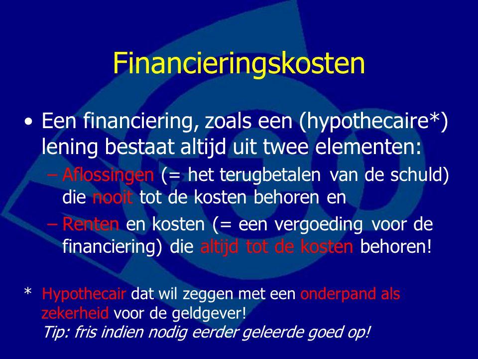 Financieringskosten Een financiering, zoals een (hypothecaire*) lening bestaat altijd uit twee elementen: