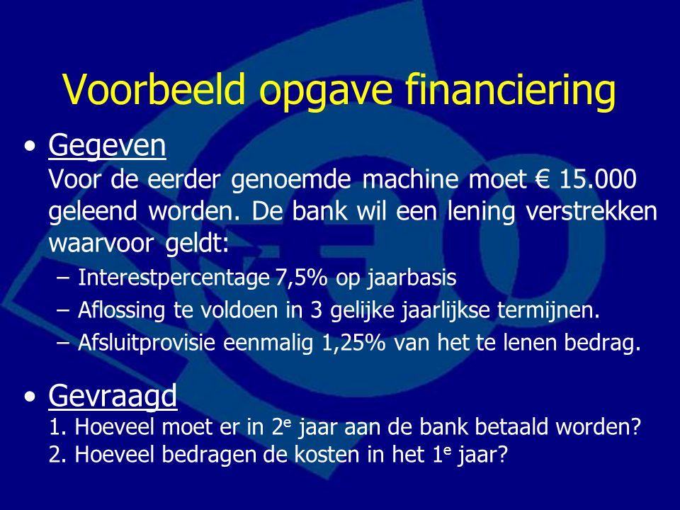 Voorbeeld opgave financiering