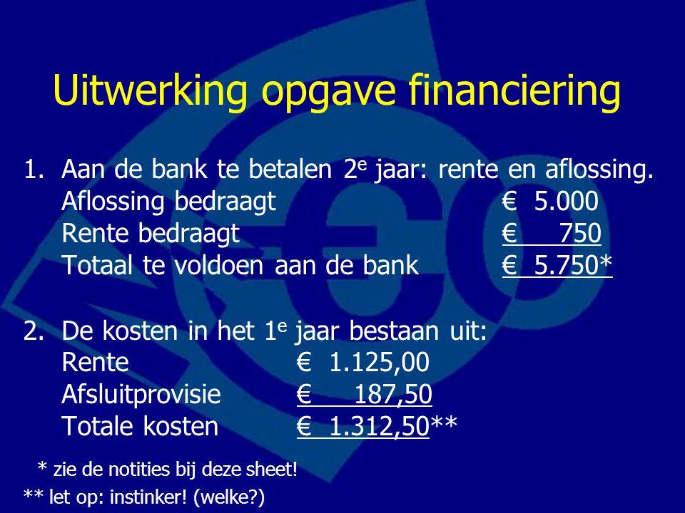 Uitwerking opgave financiering