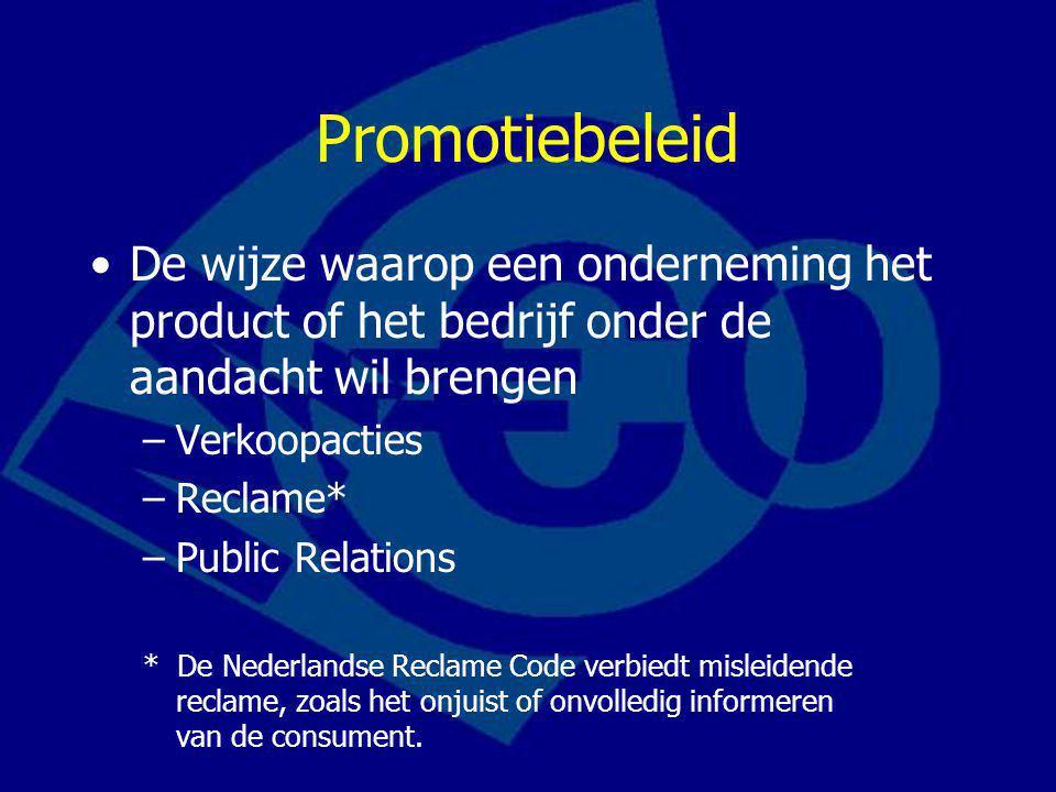 Promotiebeleid De wijze waarop een onderneming het product of het bedrijf onder de aandacht wil brengen.