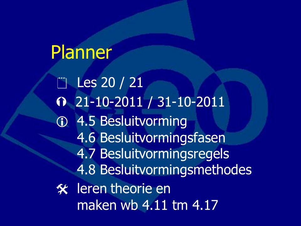 Planner  Les 20 / 21.  21-10-2011 / 31-10-2011.