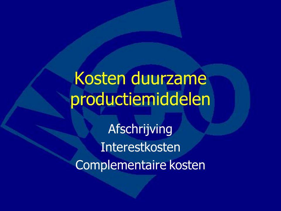 Kosten duurzame productiemiddelen