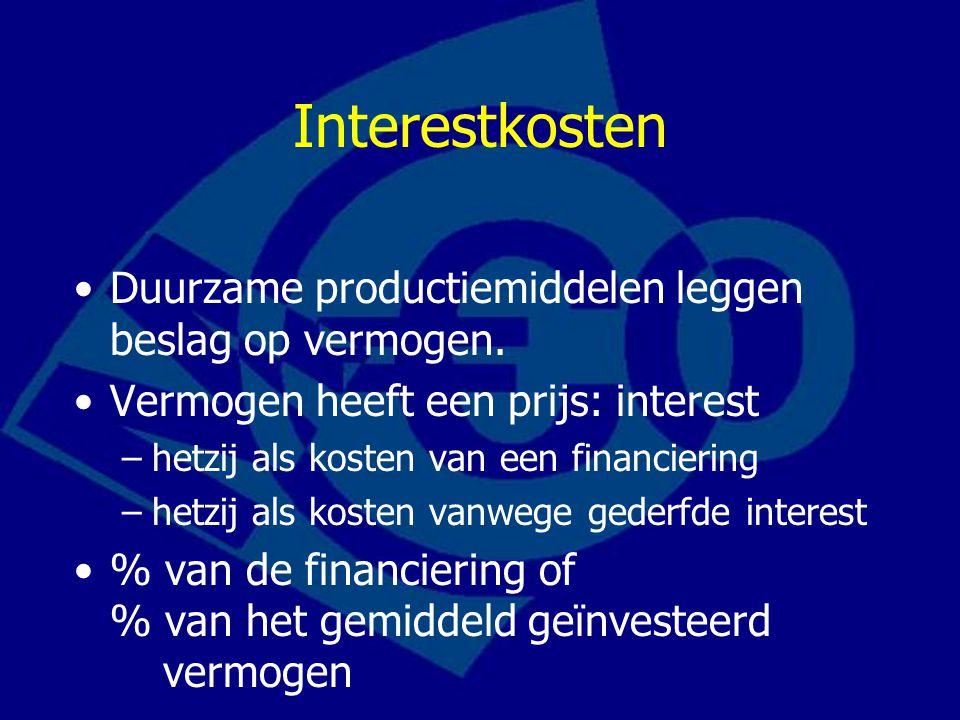Interestkosten Duurzame productiemiddelen leggen beslag op vermogen.