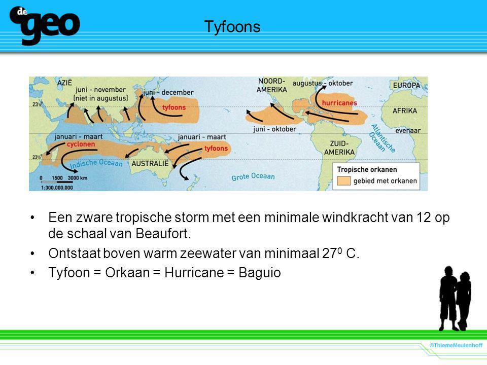 Tyfoons Een zware tropische storm met een minimale windkracht van 12 op de schaal van Beaufort. Ontstaat boven warm zeewater van minimaal 270 C.