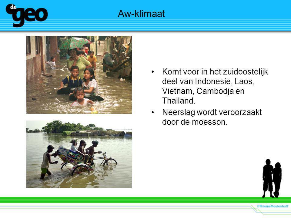 Aw-klimaat Komt voor in het zuidoostelijk deel van Indonesië, Laos, Vietnam, Cambodja en Thailand. Neerslag wordt veroorzaakt door de moesson.