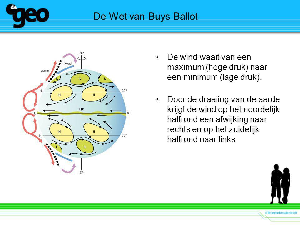 De Wet van Buys Ballot De wind waait van een maximum (hoge druk) naar een minimum (lage druk).