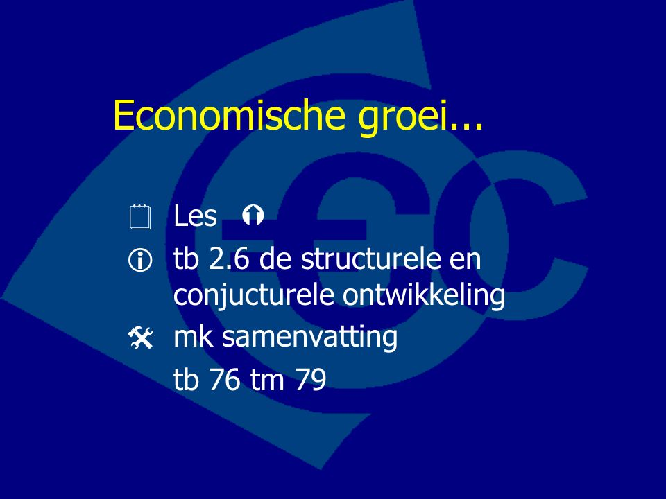 Economische groei...  Les 