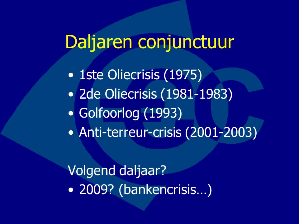 Daljaren conjunctuur 1ste Oliecrisis (1975) 2de Oliecrisis (1981-1983)