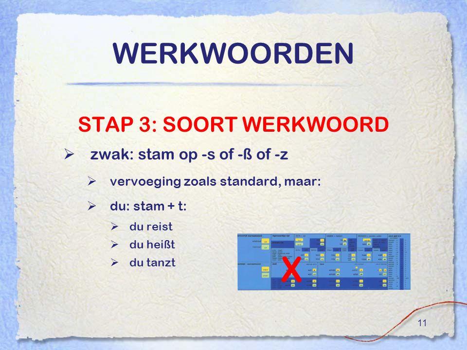 X WERKWOORDEN STAP 3: SOORT WERKWOORD zwak: stam op -s of -ß of -z