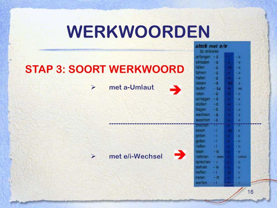 WERKWOORDEN STAP 3: SOORT WERKWOORD met a-Umlaut