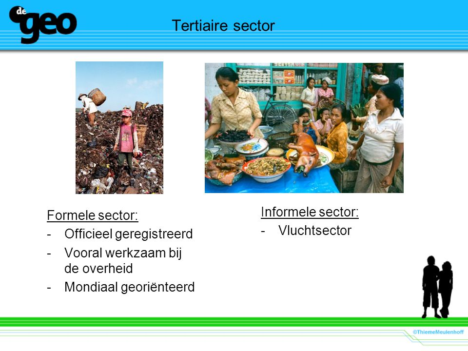 Tertiaire sector Informele sector: Formele sector: Vluchtsector