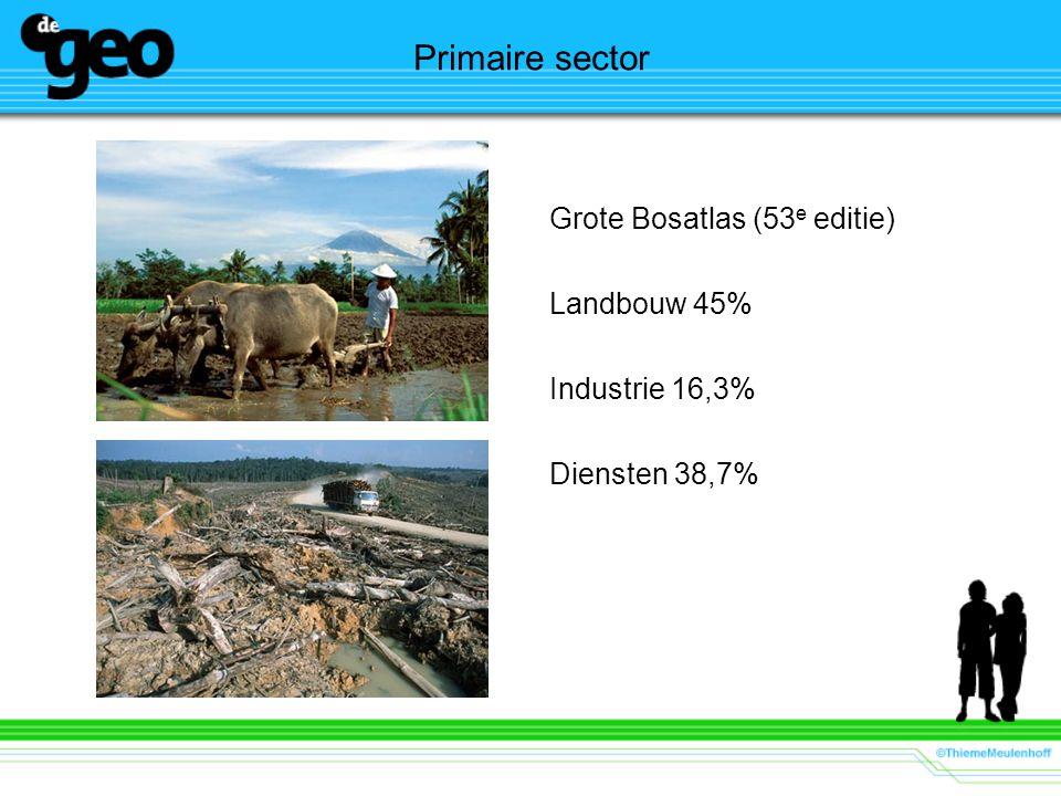 Primaire sector Grote Bosatlas (53e editie) Landbouw 45%