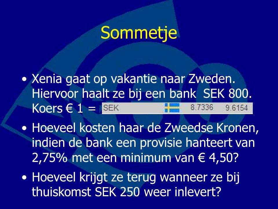 Sommetje Xenia gaat op vakantie naar Zweden. Hiervoor haalt ze bij een bank SEK 800. Koers € 1 =