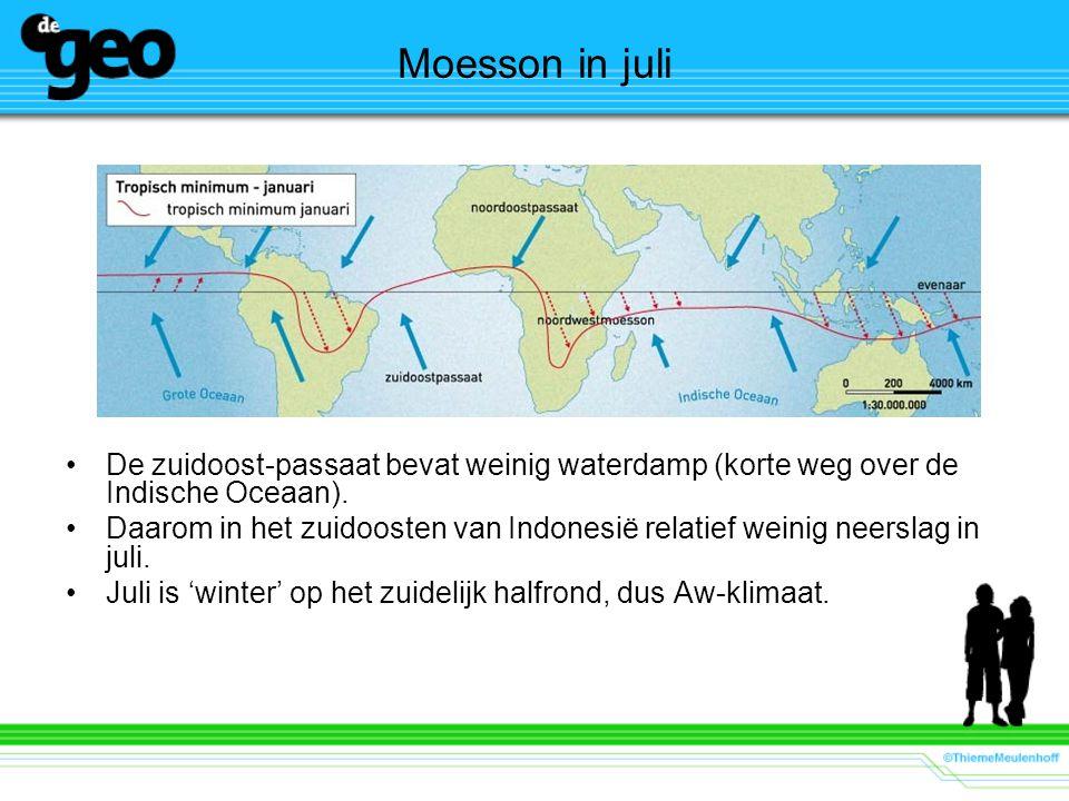 Moesson in juli De zuidoost-passaat bevat weinig waterdamp (korte weg over de Indische Oceaan).